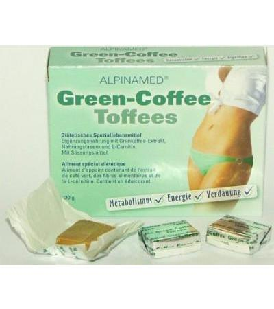 Alpinamed Green Coffee Toffees mit Grünkaffee-Extrakt, L-Carnitin, Inulin - 30 Stk.
