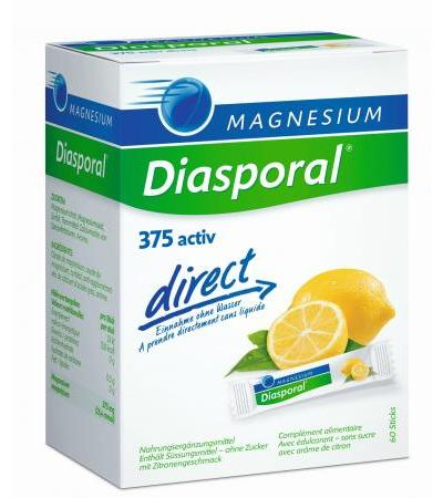 Magnesium Diasporal direct - 375 activ - Zitrone - 60 Sticks